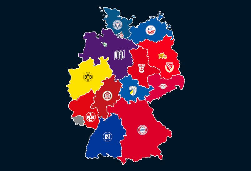 Landkarte: Vereine mit den meisten Punkten 2018