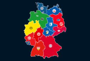Landkarte: Höchster Zuschauerschnitt 2018/19 im Bundesland