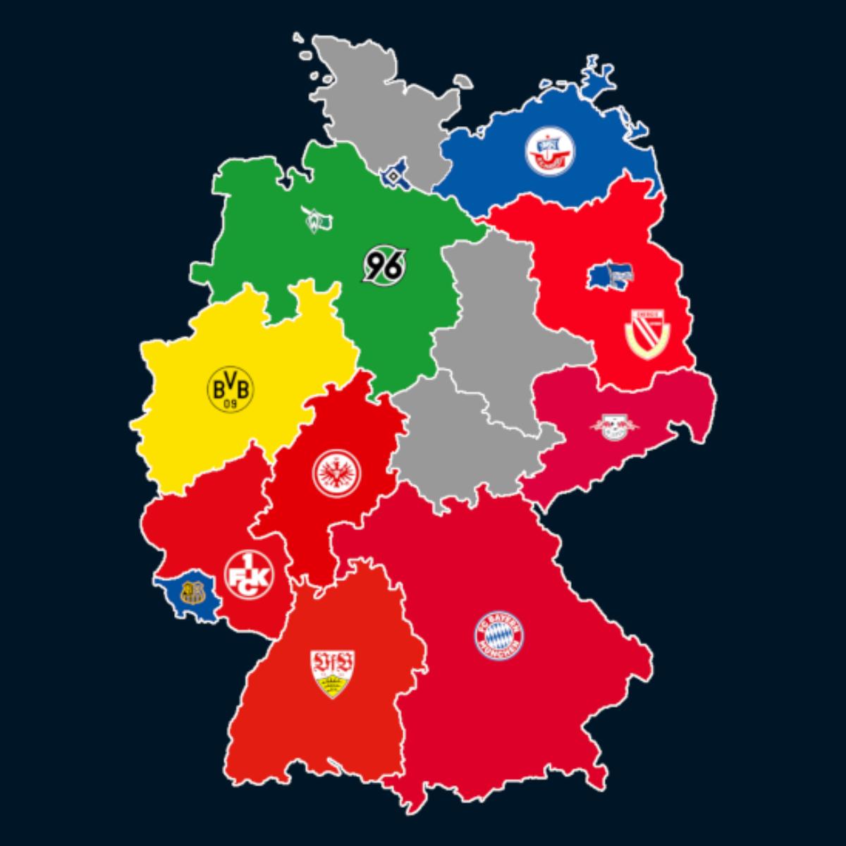 Landkarte: Ewige Tabelle der 1. Bundesliga