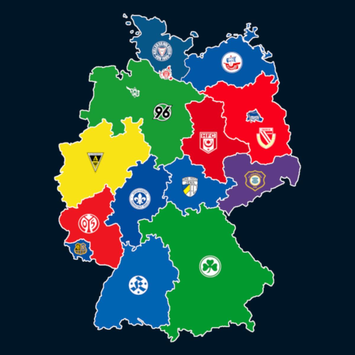 Landkarte: Ewige Tabelle der 2. Bundesliga