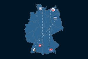 Landkarte: Größten und geringsten Distanzen zwischen den Stadien (1. – 3. Liga)