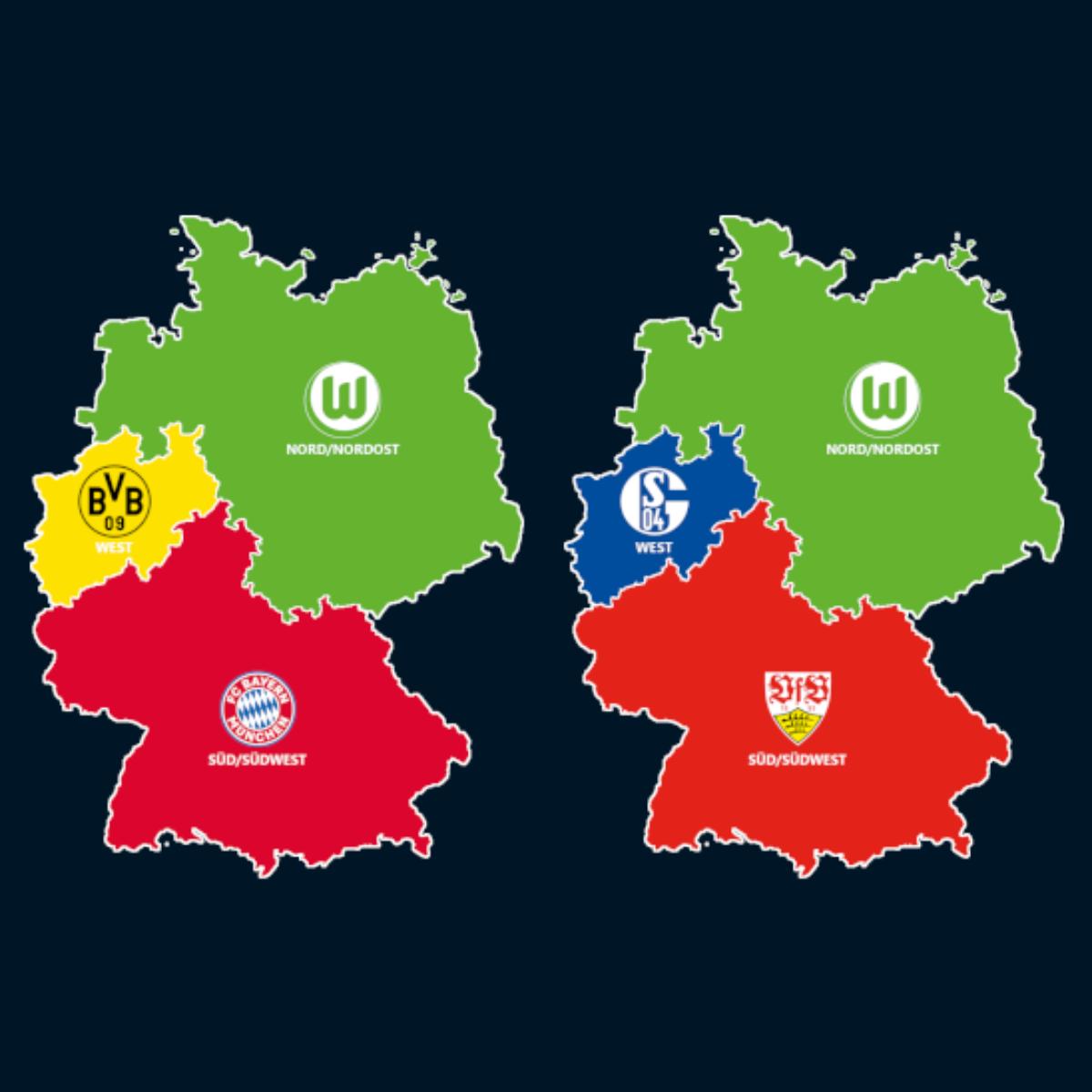 Landkarte: Die Meister der U19 und U17-Bundesligen