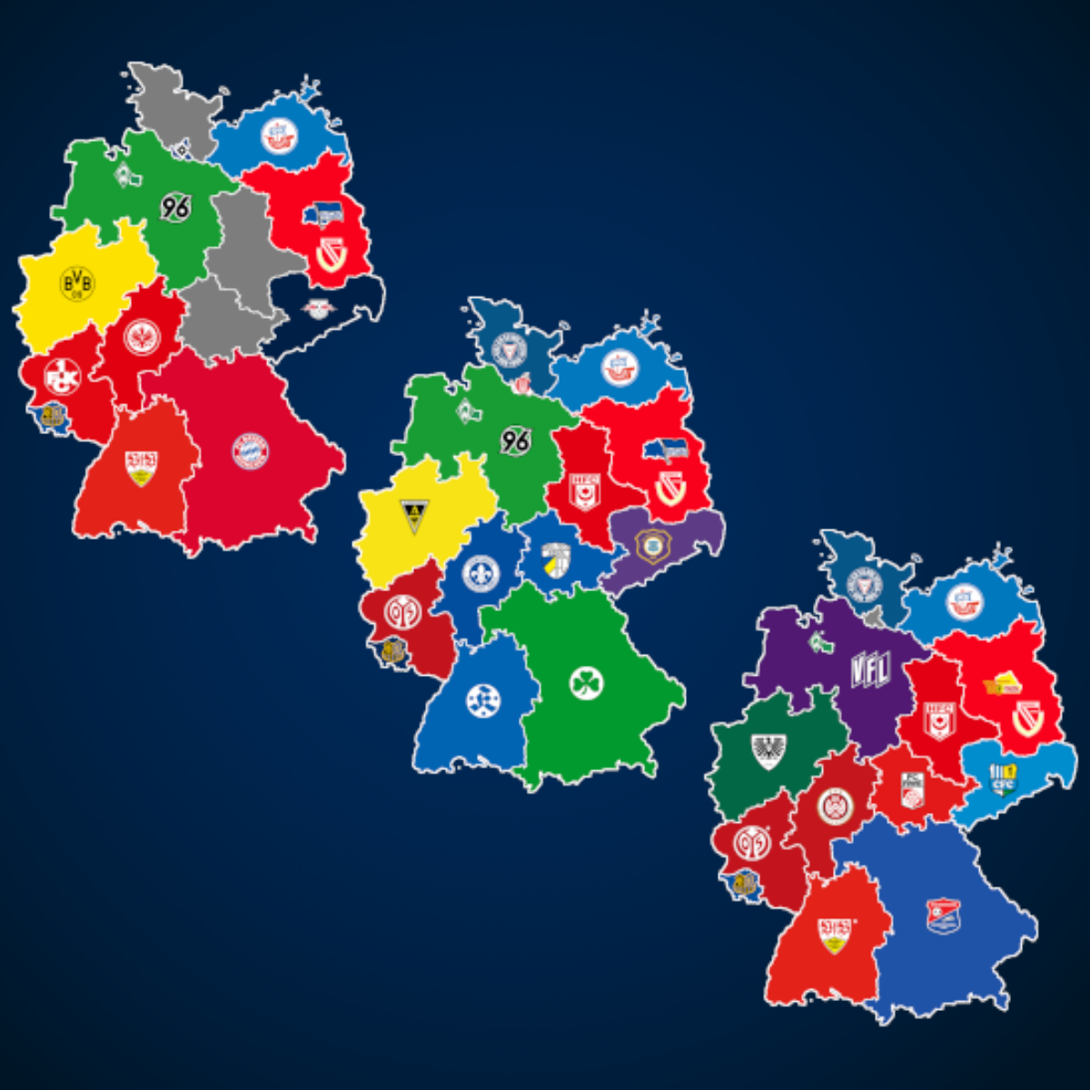 Landkarte: Ewige Tabelle (1. – 3. Liga)
