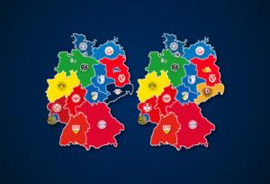 Deutschlandkarte: Vereine mit den meisten Zuschauern und Auswärtsfahrern