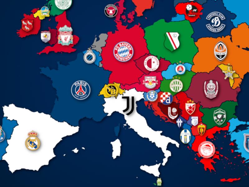 Landkarte: Europas Meister 2019/20