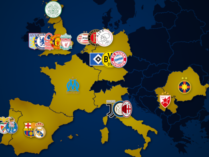 Landkarte: Champions-League-Sieger