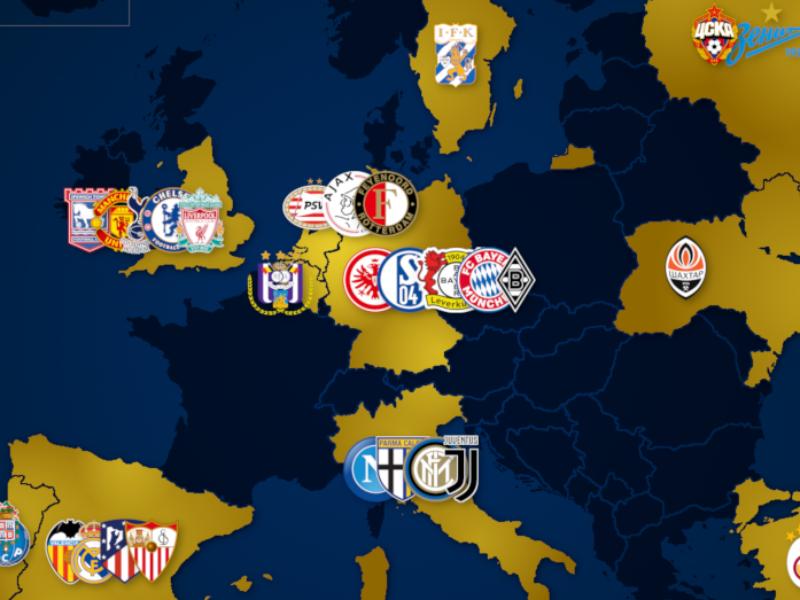 Landkarte: Europa-League-Sieger