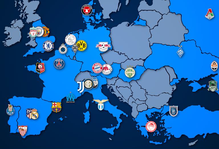 Landkarte: Champions League Teilnehmer 2020/21