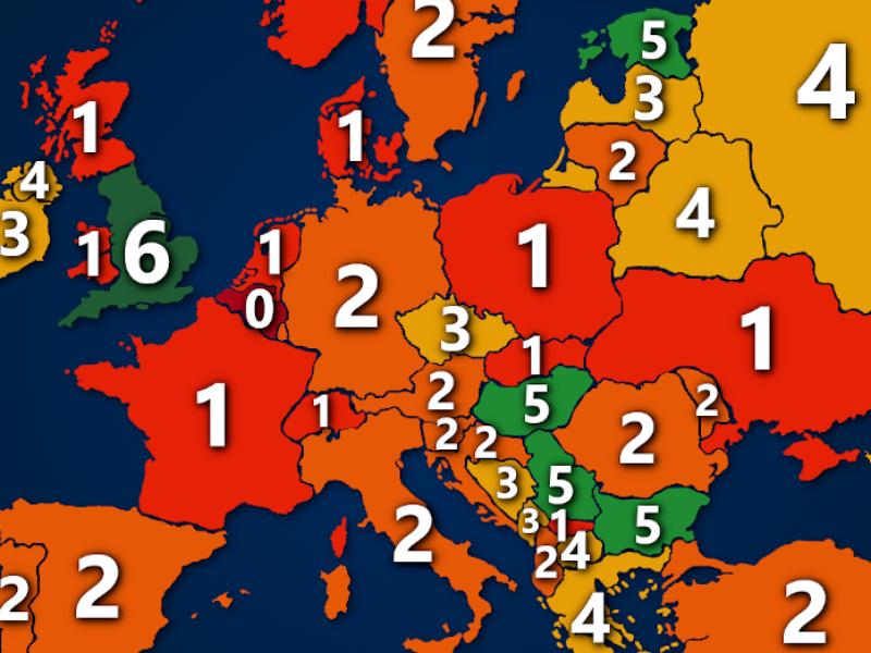Landkarte: Hauptstadtvereine in der 1. Liga