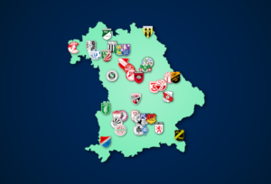Landkarte: Oberliga Bayern (Süd+Nord) 2021/22