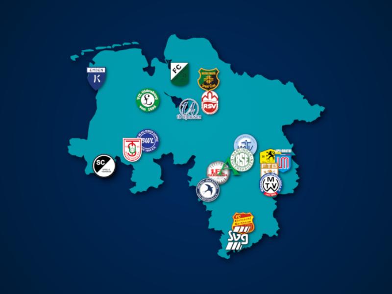 Landkarte: Oberliga Niedersachsen 2021/22