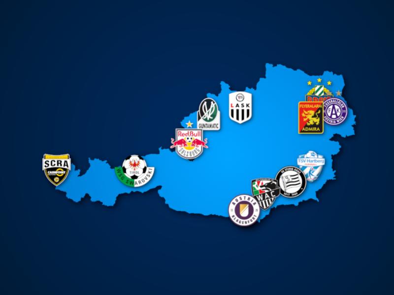 Landkarte: Österreichische Bundesliga 2021/22