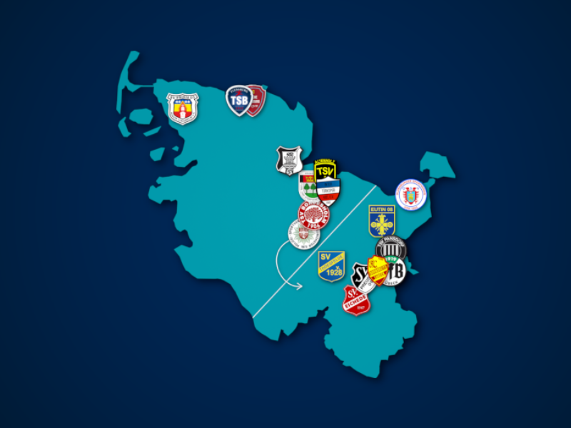 Landkarte: Oberliga Schleswig-Holstein 2021/22